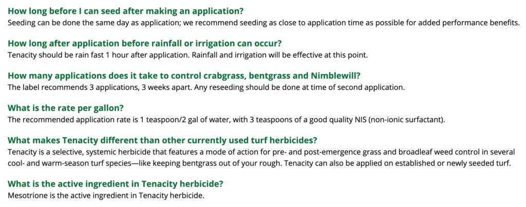tenacity weed killer frequently asked questions 1 of 3