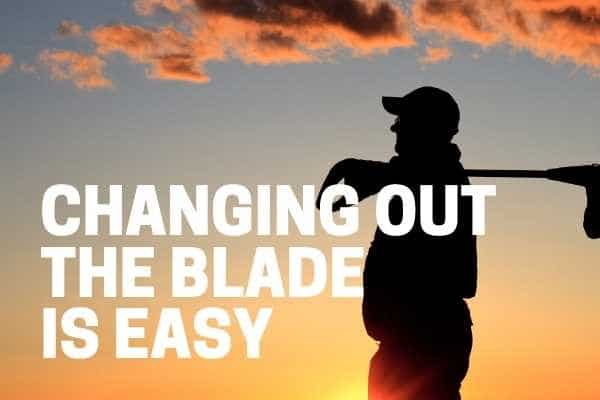 using a weed eater with blade to cut down brush
